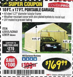 Harbor Freight Coupon COVERPRO 10 FT. X 17 FT. PORTABLE GARAGE Lot No. 62859, 63055, 62860 Expired: 4/30/19 - $169.99