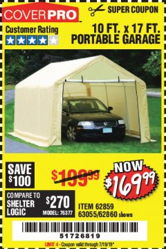 Harbor Freight Coupon COVERPRO 10 FT. X 17 FT. PORTABLE GARAGE Lot No. 62859, 63055, 62860 Expired: 7/19/19 - $169.99