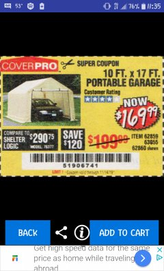 Harbor Freight Coupon COVERPRO 10 FT. X 17 FT. PORTABLE GARAGE Lot No. 62859, 63055, 62860 Expired: 11/14/19 - $169.99