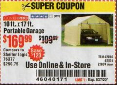 Harbor Freight Coupon COVERPRO 10 FT. X 17 FT. PORTABLE GARAGE Lot No. 62859, 63055, 62860 Expired: 8/27/20 - $169.99