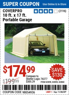 Harbor Freight Coupon COVERPRO 10 FT. X 17 FT. PORTABLE GARAGE Lot No. 62859, 63055, 62860 Expired: 11/30/20 - $174.99