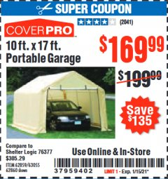 Harbor Freight Coupon COVERPRO 10 FT. X 17 FT. PORTABLE GARAGE Lot No. 62859, 63055, 62860 Valid Thru: 2/1/21 - $169.99