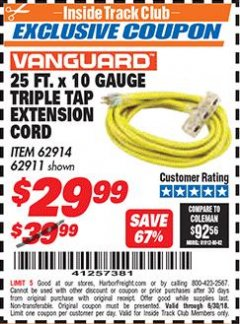 Harbor Freight ITC Coupon 25 FT X 10 GAUGE TRIPLE TAP EXTENSION CORD Lot No. 62914/61993/62911 Dates Valid: 6/1/18 - 6/30/18 - $29.99