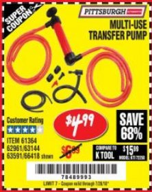 Harbor Freight Coupon MULTI-USE TRANSFER PUMP Lot No. 63144/63591/61364/62961/66418 Expired: 7/26/18 - $4.99