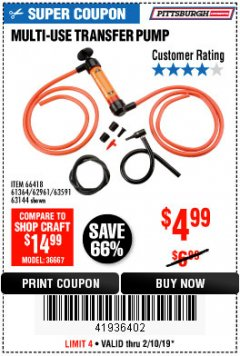 Harbor Freight Coupon MULTI-USE TRANSFER PUMP Lot No. 63144/63591/61364/62961/66418 Expired: 2/10/19 - $4.99