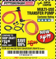 Harbor Freight Coupon MULTI-USE TRANSFER PUMP Lot No. 63144/63591/61364/62961/66418 Valid Thru: 10/14/19 - $4.99