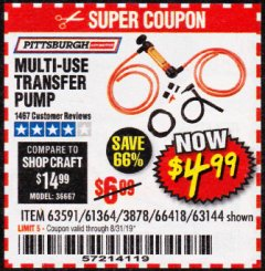 Harbor Freight Coupon MULTI-USE TRANSFER PUMP Lot No. 63144/63591/61364/62961/66418 Expired: 8/31/19 - $4.99