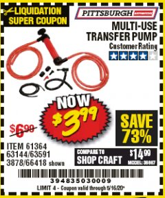 Harbor Freight Coupon MULTI-USE TRANSFER PUMP Lot No. 63144/63591/61364/62961/66418 Expired: 6/30/20 - $3.99