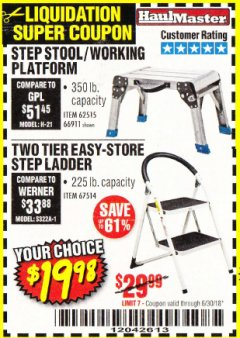 Harbor Freight Coupon TWO TIER EASY-STORE STEP LADDER Lot No. 67514 Expired: 6/30/18 - $19.98