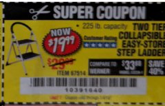 Harbor Freight Coupon TWO TIER EASY-STORE STEP LADDER Lot No. 67514 Valid Thru: 1/4/19 - $19.99