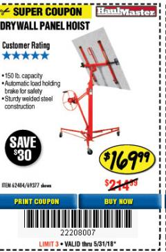 Harbor Freight Coupon 150 LB. CAPACITY DRYWALL/PANEL HOIST Lot No. 62484/69377 Expired: 5/31/18 - $169.99
