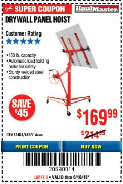 Harbor Freight Coupon 150 LB. CAPACITY DRYWALL/PANEL HOIST Lot No. 62484/69377 Expired: 6/10/18 - $169.99
