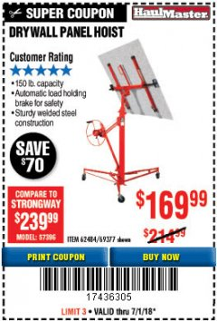 Harbor Freight Coupon 150 LB. CAPACITY DRYWALL/PANEL HOIST Lot No. 62484/69377 Expired: 7/1/18 - $169.99