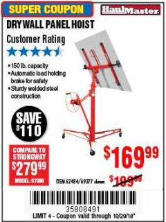 Harbor Freight Coupon 150 LB. CAPACITY DRYWALL/PANEL HOIST Lot No. 62484/69377 Expired: 10/29/18 - $169.99