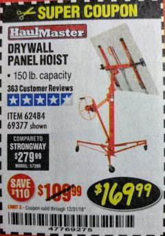 Harbor Freight Coupon 150 LB. CAPACITY DRYWALL/PANEL HOIST Lot No. 62484/69377 Valid Thru: 12/31/18 - $169.99
