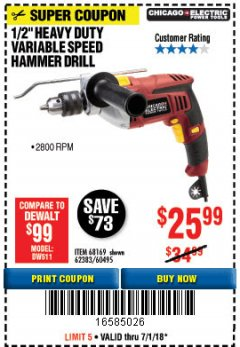 "Harbor Freight Coupon 1/2"" HEAVY DUTY HAMMER DRILL Lot No. 62383/60495/68169 Expired: 7/1/18 - $25.99"