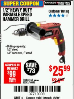 "Harbor Freight Coupon 1/2"" HEAVY DUTY HAMMER DRILL Lot No. 62383/60495/68169 Expired: 7/9/18 - $25.99"
