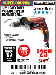 "Harbor Freight Coupon 1/2"" HEAVY DUTY HAMMER DRILL Lot No. 62383/60495/68169 Expired: 7/22/18 - $25.99"