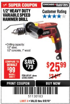 "Harbor Freight Coupon 1/2"" HEAVY DUTY HAMMER DRILL Lot No. 62383/60495/68169 Expired: 9/9/18 - $25.99"