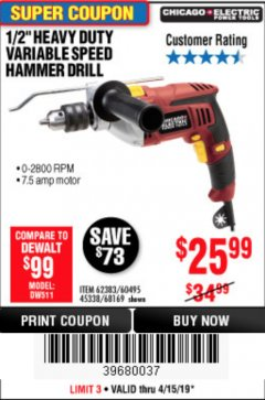 "Harbor Freight Coupon 1/2"" HEAVY DUTY HAMMER DRILL Lot No. 62383/60495/68169 Expired: 4/15/19 - $25.99"