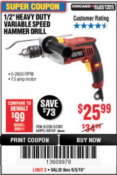 "Harbor Freight Coupon 1/2"" HEAVY DUTY HAMMER DRILL Lot No. 62383/60495/68169 Valid Thru: 6/30/19 - $25.99"