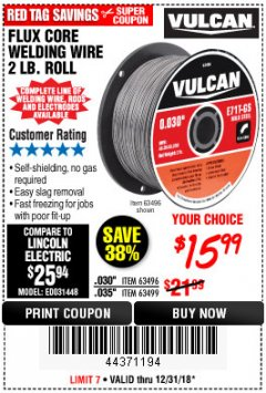 Harbor Freight Coupon FLUX CORE WELDING WIRE 2 LB. ROLL Lot No. 62544/42913/44877/62545 Expired: 12/31/18 - $15.99