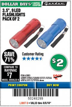 "Harbor Freight Coupon 3.5"", 9 LED FLASHLIGHTS PACK OF 2 Lot No. 69065/69112/62521/62566/97036 Expired: 8/5/18 - $2"