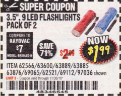 "Harbor Freight Coupon 3.5"", 9 LED FLASHLIGHTS PACK OF 2 Lot No. 69065/69112/62521/62566/97036 Expired: 11/30/18 - $1.99"