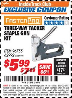 Harbor Freight ITC Coupon THREE-WAY TACKER STAPLE GUN KIT Lot No. 96755 Dates Valid: 12/31/69 - 6/30/18 - $5.99