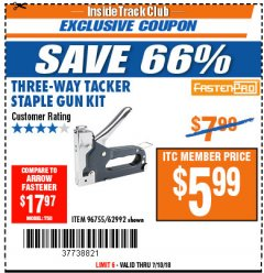 Harbor Freight ITC Coupon THREE-WAY TACKER STAPLE GUN KIT Lot No. 96755 Expired: 7/10/18 - $5.99