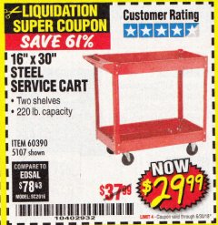 "Harbor Freight Coupon 16"" x 30"" TWO SHELF STEEL SERVICE CART Lot No. 5107/60390 Expired: 6/30/18 - $29.99"