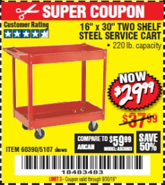 "Harbor Freight Coupon 16"" x 30"" TWO SHELF STEEL SERVICE CART Lot No. 5107/60390 Expired: 9/30/18 - $29.99"