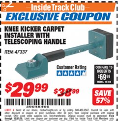 Harbor Freight ITC Coupon KNEE KICKER CARPET INSTALLER WITH TELESCOPING HANDLE Lot No. 47337 Expired: 10/31/18 - $29.99