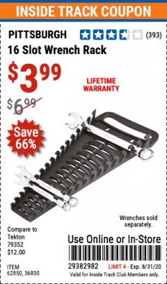 Harbor Freight ITC Coupon 16 SLOT WRENCH RACK Lot No. 36930/62850 Expired: 8/31/20 - $3.99