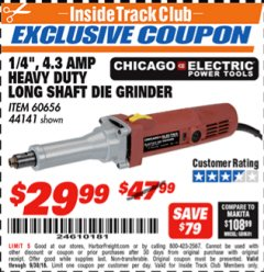 "Harbor Freight ITC Coupon 1/4"" HEAVY DUTY LONG SHAFT DIE GRINDER Lot No. 60656/44141 Expired: 9/30/18 - $29.99"