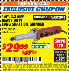 "Harbor Freight ITC Coupon 1/4"" HEAVY DUTY LONG SHAFT DIE GRINDER Lot No. 60656/44141 Valid Thru: 3/31/19 - $29.99"