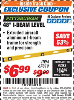 "Harbor Freight ITC Coupon 48"" I-BEAM LEVEL Lot No. 67819 Dates Valid: 2/1/19 - 2/28/19 - $6.99"