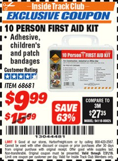 Harbor Freight ITC Coupon 10 PERSON FIRST AID KIT Lot No. 68681 Expired: 7/31/18 - $9.99