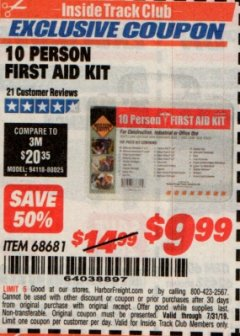Harbor Freight ITC Coupon 10 PERSON FIRST AID KIT Lot No. 68681 Expired: 7/31/19 - $9.99