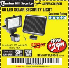 Harbor Freight Coupon 60 LED SOLAR SECURITY LIGHT Lot No. 62534/69643 EXPIRES: 11/3/18 - $29.99