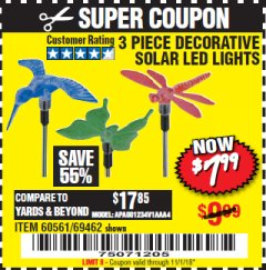 Harbor Freight Coupon 3 PIECE DECORATIVE SOLAR LED LIGHTS Lot No. 95588/69462/60561 EXPIRES: 11/1/18 - $7.99