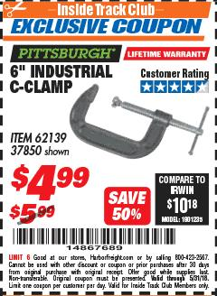 "Harbor Freight ITC Coupon 6"" INDUSTRIAL C-CLAMP Lot No. 62139/37850 Expired: 5/31/18 - $4.99"