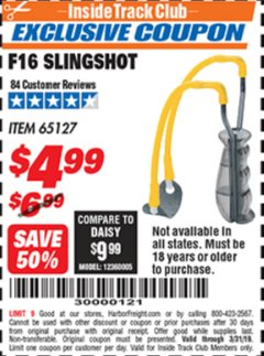 Harbor Freight ITC Coupon F16 SLINGSHOT Lot No. 65127 Expired: 3/31/19 - $4.99