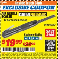 Harbor Freight ITC Coupon AIR NEEDLE SCALER Lot No. 96997 Dates Valid: 12/31/69 - 6/30/18 - $19.99