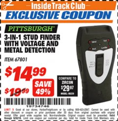 Harbor Freight ITC Coupon 3-IN-1 STUD FINDER WITH VOLTAGE AND METAL DETECTION Lot No. 67801 Expired: 9/30/18 - $14.99