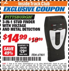 Harbor Freight ITC Coupon 3-IN-1 STUD FINDER WITH VOLTAGE AND METAL DETECTION Lot No. 67801 Expired: 12/31/18 - $14.99