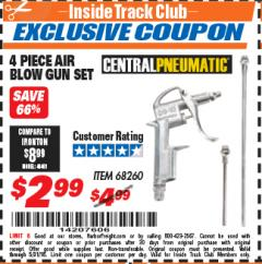 Harbor Freight ITC Coupon 4 PIECE AIR BLOW GUN SET Lot No. 68260 Expired: 5/31/18 - $2.99
