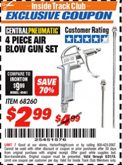 Harbor Freight ITC Coupon 4 PIECE AIR BLOW GUN SET Lot No. 68260 Expired: 8/31/18 - $2.99