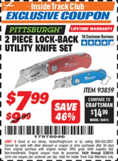 Harbor Freight ITC Coupon 2 PIECE LOCK-BACK UTILITY KNIFE SET Lot No. 93859 Dates Valid: 12/31/69 - 2/28/19 - $7.99