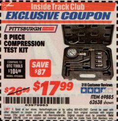 Harbor Freight ITC Coupon 8 PIECE COMPRESSION TEST KIT Lot No. 62638/69885 Expired: 7/31/19 - $17.99